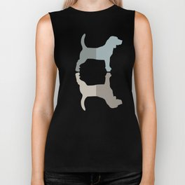Beagle Silhouettes Pattern - Natural Colors Biker Tank