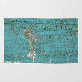 Rustic Wood with Bright Turquoise Paint Weathered Aged to perfection Rug