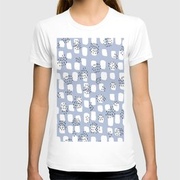Spotted series messy abstract dashes blue black and white raw paint spots T-shirt