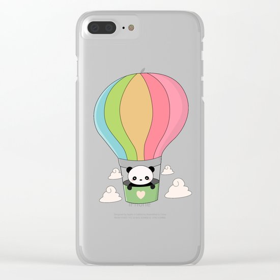Kawaii Panda Bear Hot Air Balloon Clear iPhone Case