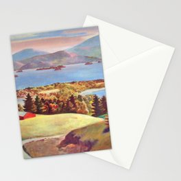 Lake George, Adirondack Mountains, New York pastoral landscape painting by Judson Smith Stationery Cards