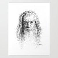 gandalf Art Prints featuring Gandalf by Creadoorm