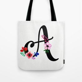 Letter A Watercolor Floral Background Tote Bag