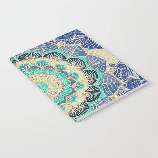 Midnight Bloom - detailed floral doodle in gold, navy blue & mint Notebook