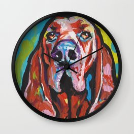 Fun REDBONE COONHOUND Dog bright colorful Pop Art painting by Lea Wall Clock