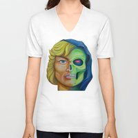 he man V-neck T-shirts featuring He-man & Skeleton by kakin