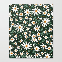 Friendly Flowers Pattern on Black Canvas Print