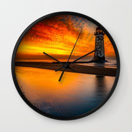 Old Lighthouse Sunset Wall Clock