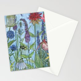 Watercolor Garden Flower Botanical Wildflowers Lady Slipper Orchid Stationery Cards