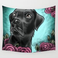 lab Wall Tapestries featuring Black Lab... by Lily Fitch