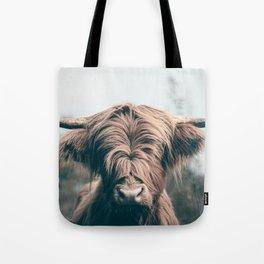 Highland cow portrait Tote Bag
