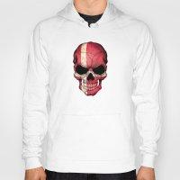 denmark Hoodies featuring Dark Skull with Flag of Denmark by Jeff Bartels
