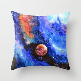 Galaxy landscape Throw Pillow