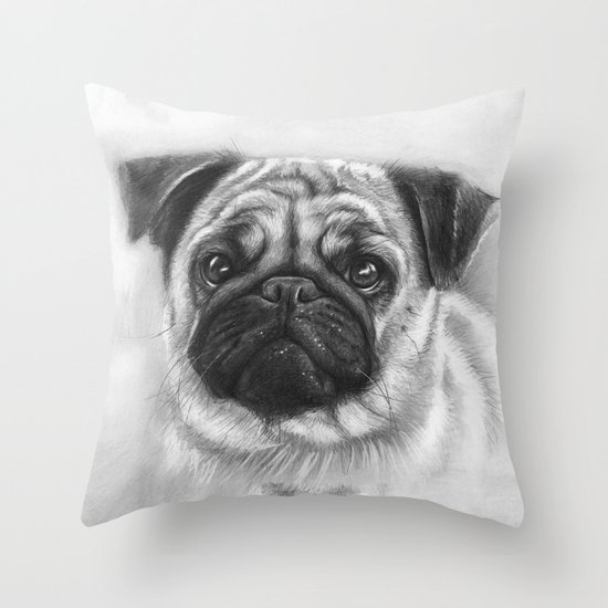 Cute Pug Dog Animal Pugs Portrait Throw Pillow
