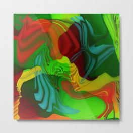 Green and Red Abstract Metal Print