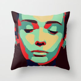 Close 2 U II popart face woman minimalism drawing modern Throw Pillow