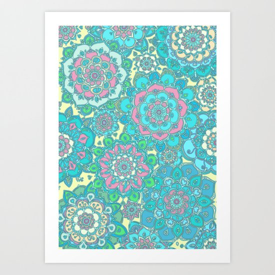 Candy Doodles, floral doodles in pink and blue Art Print