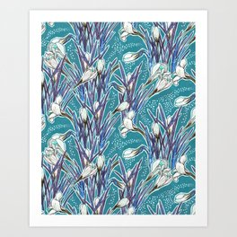 Crocuses, floral pattern in turquoise, blue and white Art Print