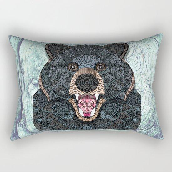 Ornate Black Bear Rectangular Pillow