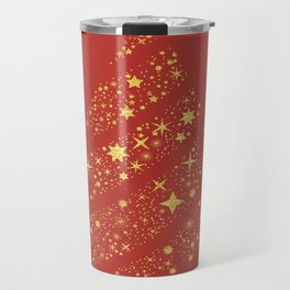 Golden Christmas Memories - Star Tree Gold Terracotta Travel Mug