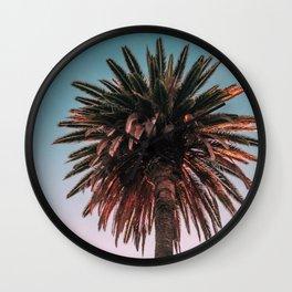 Tropical, Palm, Nature, Pink, Scandinavian, Minimal, Modern, Wall art Wall Clock
