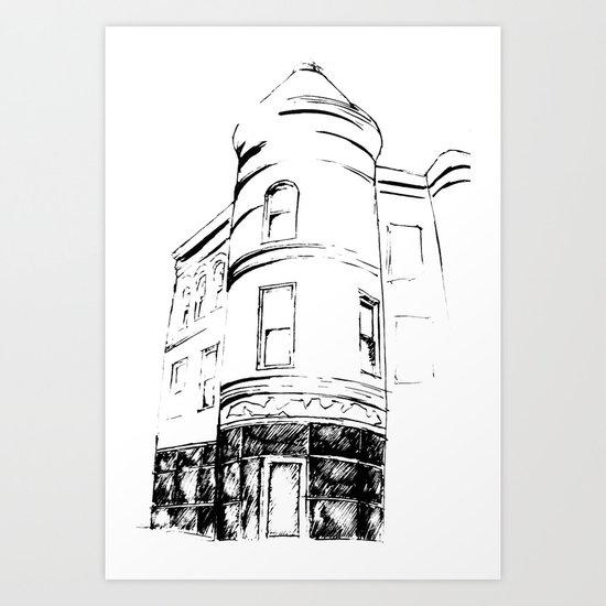 Architectural Corner Sketch Art Print