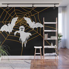 Bats and Ghost white - black color Wall Mural