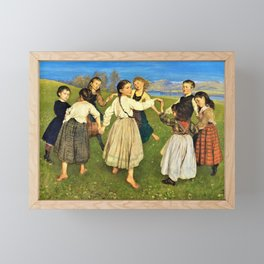 Children Dancing In A Ring - Hans Thoma Framed Mini Art Print