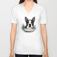 boston V-neck T-shirts featuring Boston terrier by Nir P