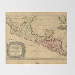 Map of Mexico (1656) Throw Blanket