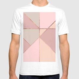 Modern rose gold peach blush pink color block T-shirt