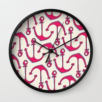 anchors Wall Clocks featuring Anchors by Anne Waters