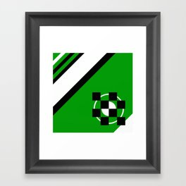 Simplicity - Green, black and white, geometric, abstract Framed Art Print