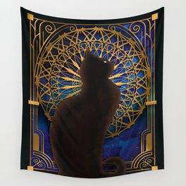 Celestial Sable - Black Cat And Night Magic Mandala Wall Tapestry