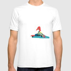 Longboard Girl 01 SMALL White Mens Fitted Tee