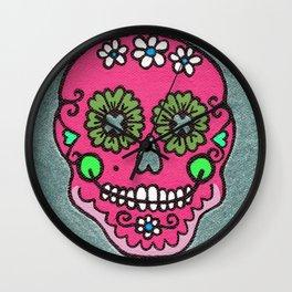 Dia De Los Muertos Mexican Sugar Skull Pink Wall Clock