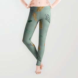 Bohemian feathers Gold and Green Leggings