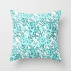 Coral and Star fish in blue Throw Pillow