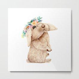 Pretty Floral Garland Bunny Metal Print