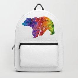 Bear Art Colorful Watercolor Art Gift Animals Art Wildlife Nature Gift Backpack