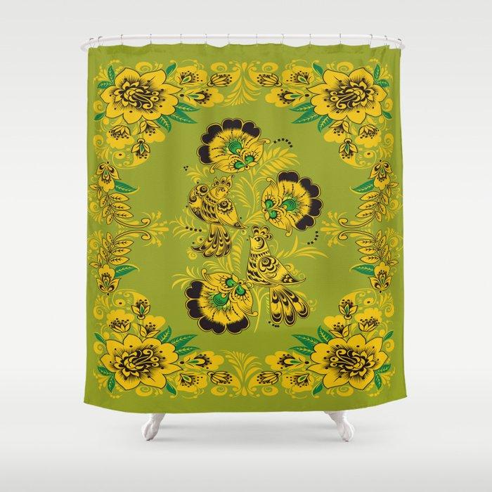 Rosemaling Folk Art Shower Curtain
