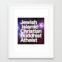 religion Framed Art Prints featuring RELIGION by CHAD MIZE /// CHIZZY