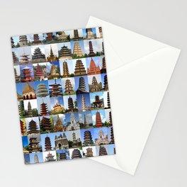 Pagodas Montage Stationery Cards