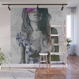 To The Marrow: Purple (faceless nude woman with lilies tattoos) Wall Mural