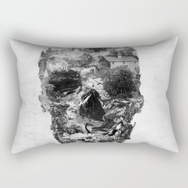 Town Skull B&W Rectangular Pillow