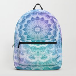 White Mandala on Teal, Purple and Navy Backpack
