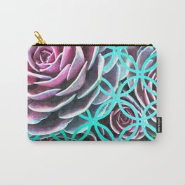 Purple Succulent Turquoise Geometric Carry-All Pouch