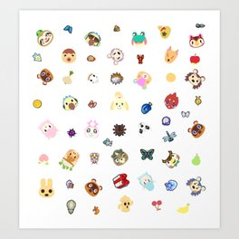 animal crossing pattern Art Print