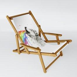 Wolf Rainbow Watercolor Animal Sling Chair