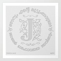 Joshua 24:15 - (Letterpress) Monogram J Art Print